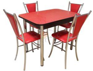 Комплект стол и стулья Былина Лилия красный