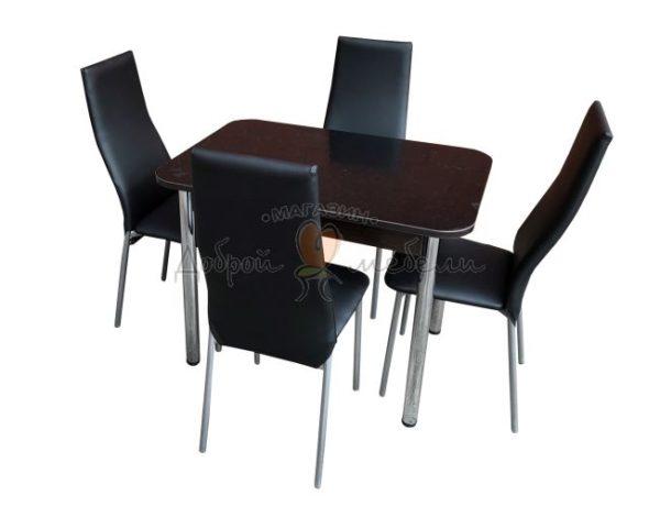 Комплект стол и стулья Былина Волна черный