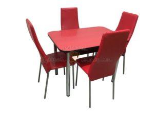 Комплект стол и стулья Былина Волна красный