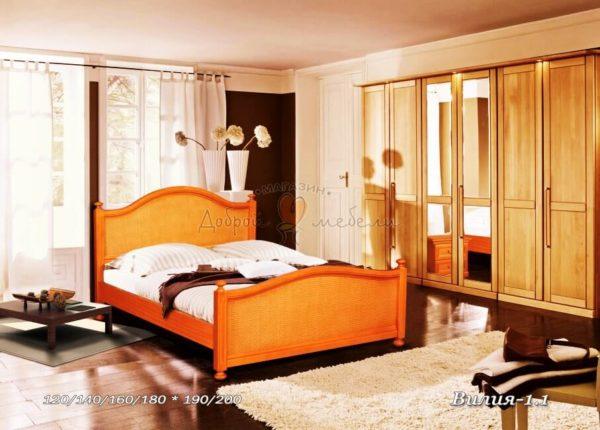 Деревянная кровать Вилия-1-1 с ротангом
