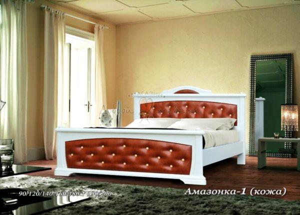 Мягкая кровать Амазонка 1 с кожей