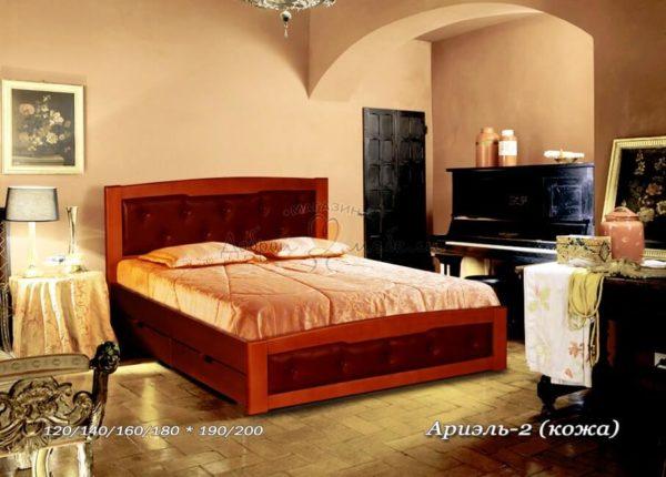 Мягкая кровать Ариэль 2 с кожей