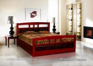 Мягкая кровать Флирт 1 с кожей