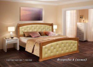 Мягкая кровать Флорида 1 с кожей
