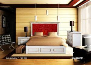 Мягкая кровать Лианор с кожей
