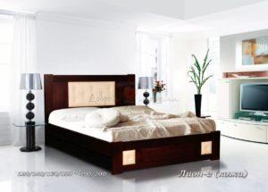 Мягкая кровать Лион 2 с кожей