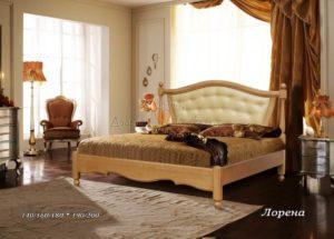 Мягкая кровать Лорена с кожей