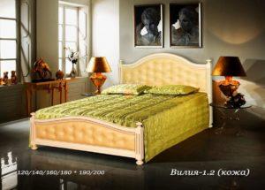 Мягкая кровать Вилия 1 2 с кожей