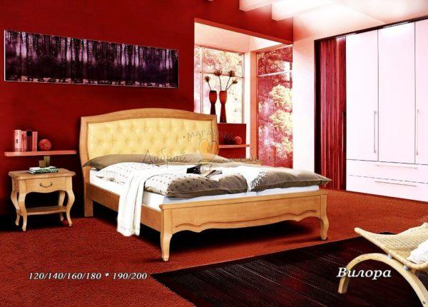 Мягкая кровать Вилора с кожей