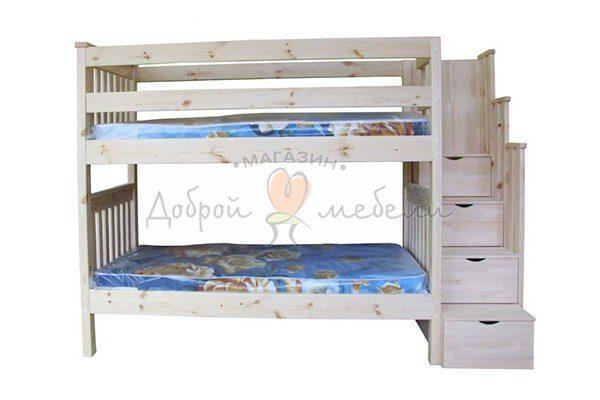 кровать двухъярусная с приставной лестницей