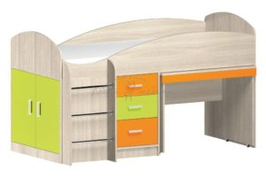 кровать с выкатным столом Алиса с цветными фасадами