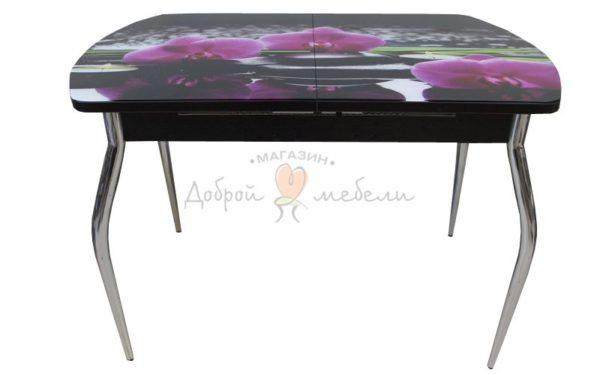 стол со стеклом Вальс раздвижной с фотопечатью