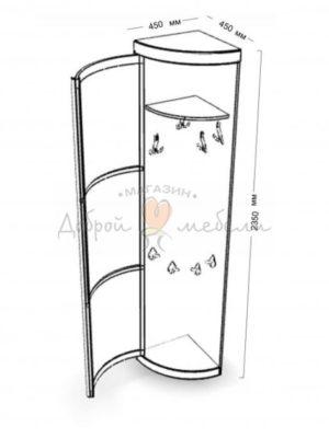 угловой элемент с распашной дверцей с крючками