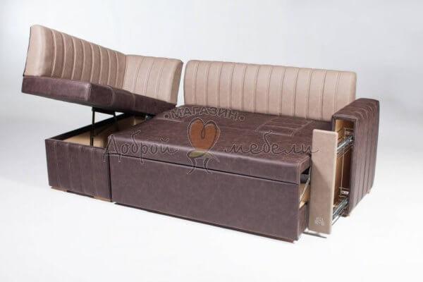 угловой кухонный диван Бостон разложенный